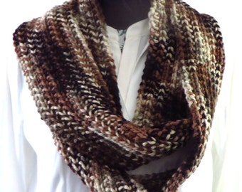 Brown Infinity Scarf, Hand Knit Oversized Scarf, Knitted Circle Scarf, Brown Cowl, Heavy Chunky Knit