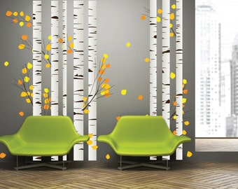Aspen Birch Trees with Leaves Living Room Wall Decor Decal Sticker, Bedroom Modern Nature Wall Art Mural
