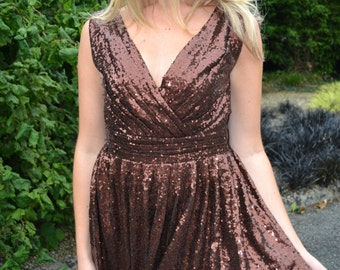 Sequin bridesmaid gown - custom made 'Rosie' v neck sleeveless backless metallic sparkle bridesmaids dress vintage style wedding party