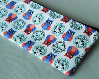 Owl hand printed Pencil pouch, Zipper cosmetic pouch on light weight cotton fabric #8
