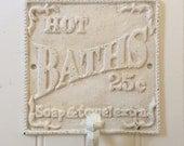 HOT BATHS Bathroom Wall Hook / Robe Hook / Beach Cottage Bath Decor / Vintage-Look Beach Hook