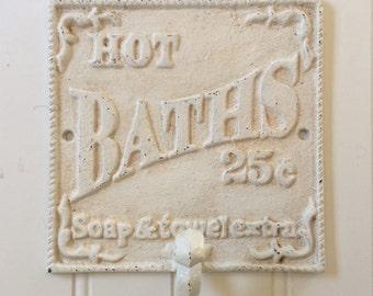 HOT BATHS Bathroom Wall Hook / Robe Hook / Towel Hook / Beach Cottage Bath Decor / Vintage-Look Beach Hook