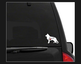 German Shepherd Love (GSD): A Car Window Vinyl Decal - Laptop Sticker - Dog Breed Decals - Dog Stickers - Cooler Decal - Gift for Dog Lover