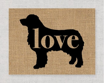 Australian Shepherd / Aussie - Black Customizable, Personalized Burlap Dog Wall Art Home Decor Print Pet Silhouette - Add Dog's Name (101p)