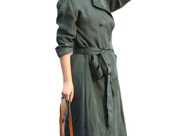 Green cupro elegant trench coat british style