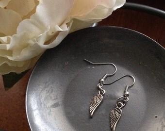 Silver Earrings, Angel Wings, Angel Earrings, Wing Earrings, Dangle Earrings, Small Earrings
