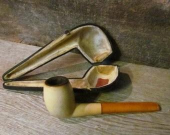 Antique Meerschaum & Amber Estate Pipe by Frischer Original Case