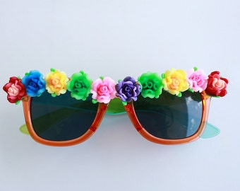 Flower Sunglasses, Embellished Sunglasses, 90s Sunglasses, Coachella, Coachella Sunglasses, Floral Sunglasses, Festival, Sunglasses