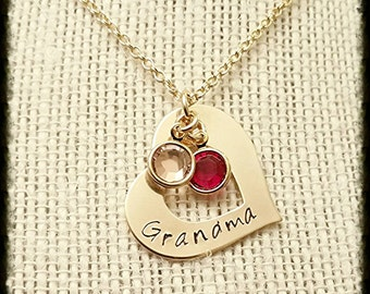 """Gold Filled, Hand Stamped Mothers Grandmothers Name Necklace with Swarovski Birthstone Charms  1"""" Heart Washer"""