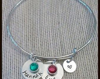Adjustable Wire Bangle Bracelet | Hand Stamped Sterling Silver | 2 x Name Charms w/ Swarovski Birthstones | Personalized