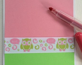 Handmade owl invitation set Pink and green owl baby girl invitation set of 12