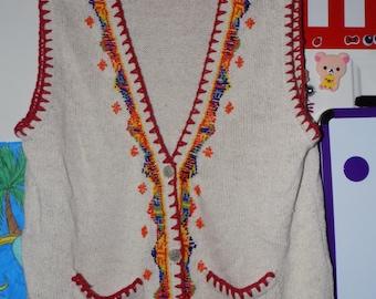 vintage Ivy Wear Beaded Vest Womens Small\Medium Indian seed bead print hippie