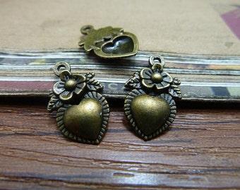 50pcs 12x19mm Antique bronze heart flower pendant charm setting Jewelry findings bC295