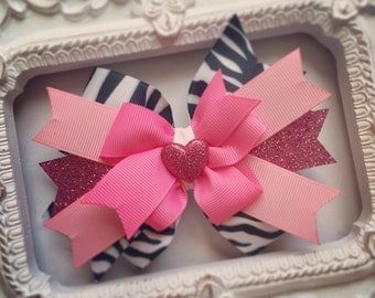 Pink Glittery Zebra Print Hair Bow or Bow & Headband Set