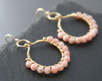 Boho, Pink Coral, Hoop Earrings, 14K Gold Fill, Wire Wrapped, Small Hoop Earrings, Salmon Pink, Ballet Pink, Wedding, Bridesmaid, Simple