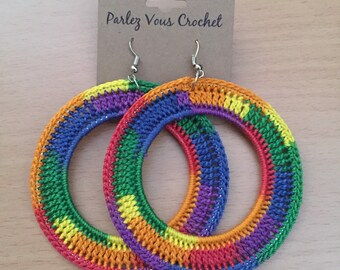 Rainbow Crochet Earrings (Hoops)