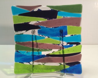 "7 x 7"" fused glass plate ""Through the Reeds"""