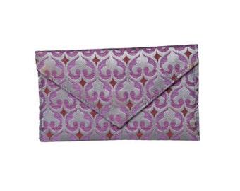 Business Card Holder/Mini Wallet - Purple Fleur de Lys