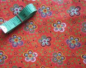 Vintage Orange Calico Fabric 1 Yard Unused