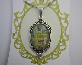 Monet, Water Lily Pond artwork necklace
