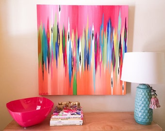"""Original abstract painting by Rita Ortloff 36""""x36""""x2"""" - """"Over Easy"""""""