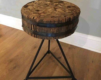 Wood & Steel Bench / Stool / Side Table - made from salvaged wood, one of a kind upcycled