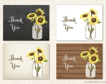 Sunflowers Thank You Cards - Wedding Sunflower Thank You Cards - Set of 24 with envelopes
