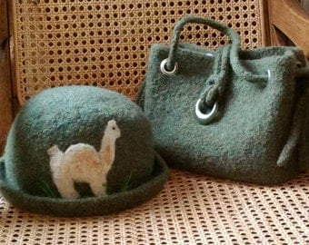 Felted hat and purse with Llama applique.