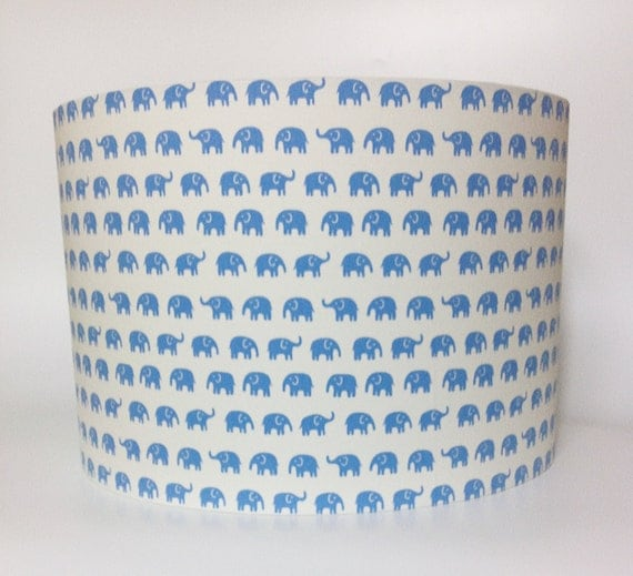 Elephant mini print beige or blue nursery lampshade in ceiling or bedside options