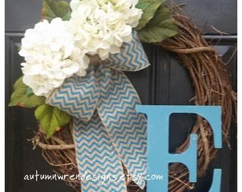 Front Door Wreath, Wreath for Door, Turquoise wreath, Chevron bow wreath,  Wreath with Burlap