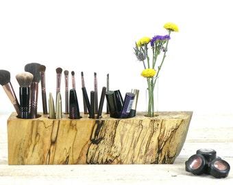 Live Edge Spalted Maple Cosmetic Brush Holder,  Makeup Organizer Vanity Display, Reclaimed Wood