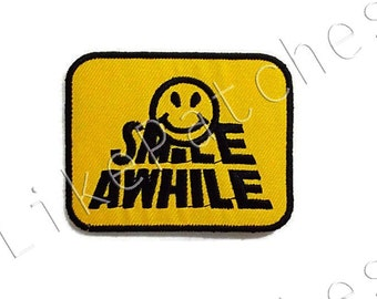 Smile Awhile Smiley Face Yellow Patch New Sew / Iron On Patch Embroidered Applique Size 7.7cm.x6cm.