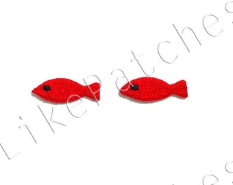 Set 2 pcs. Little Red Fishes - Super Cute Patches New Sew / Iron on Patches Embroidered Applique Size 2.6cm.x0.9cm.