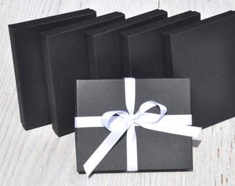 10 Black 7x5.5x1 Necklace Box with Cotton Fill Invitation Box Matte Favor Boxes