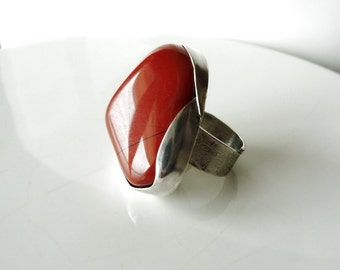 Silver 925 ring big and Red Jasper-adjustable size