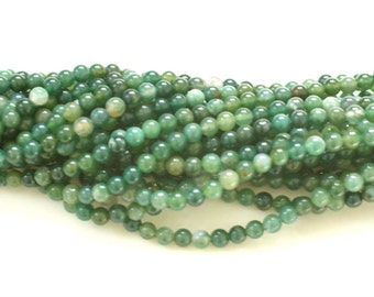 Moss Agate Beads, 6mm Round Smooth Green Moss Agate Beads, 16 inches Full Strand 65 beads, Natural Moss agate beads, Genuine Moss Agate