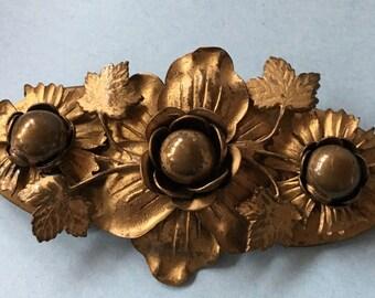 Victorian Large Gilt Metal Leaf and Flowers Brooch