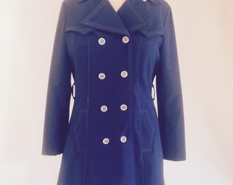 Vintage 70's coat, vintage trench, blue coat