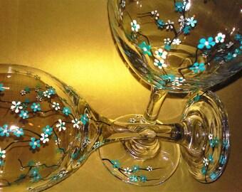 Hand Painted Wine Glasses, Cherry Blossom Wine Glasses, painted wine glasses, decorative wine glasses, wedding wine glasses