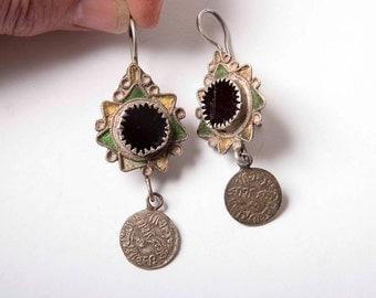 Antique enamel and glass Moroccan dangle earrings