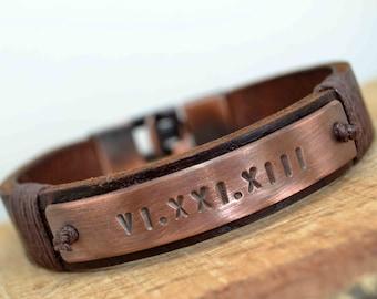 Mens Bracelet, Leather Bracelet, Personalized Men Bracelet,Genuine Leather Mens Bracelet,Roman numeral,Boyfriend gift,Valentines Day Gift