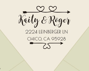 Custom Return Address Stamp with a curly calligraphy script font  - custom address stamp Self-Inking Personalized Return Address Stamp