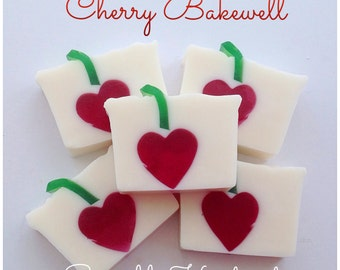 Cherry Bakewell soap bar, cherry scented soap, decorative soap, SLS and Paraben free.