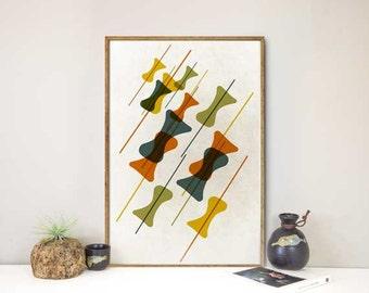 Mid century modern art livingroom art geometric art Scandinavian print Minimalist Eames abstract Wall decor Mid century Modern wall art