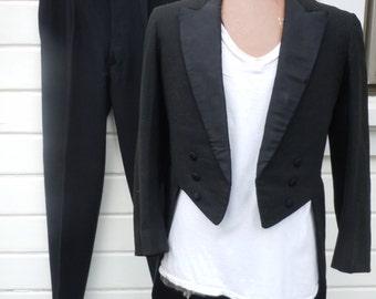Size M (40S-40R) ** Nice 1930s Black Heavy Wool Tuxedo