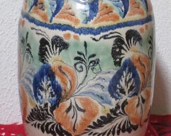 Vintage Capelo Vase / Mexican Majolica Hand-Painted Pottery / Signed / Ceramic / Guanajuato Mexico