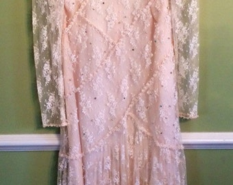 1980's Drop-waist Lace Dress With Rhinestones and Pearls