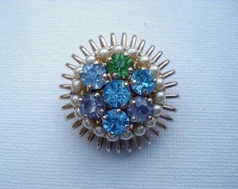 Barclay Jewelry Brooch Pin Designer Signed Rhinestones Faux Pearls 01905