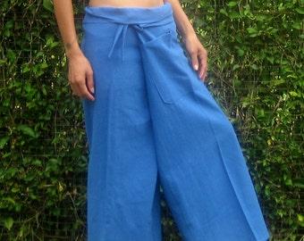 Fisherman Pants Wrap Yoga Pants Thai Fisherman Pants Wide Leg Pants Hippie Pants Thai Pants Burning Man Pantaloni Thai Calca Tai * blue * LF