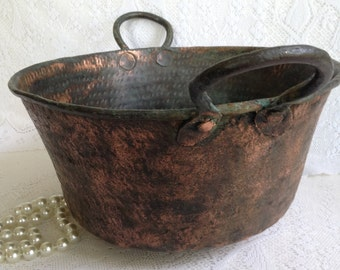 Antique Solid Copper Cauldron/ pan/jelly pot/bowl ~  Old Cooking hand forged copper hand hammered pot ~ primitive rustic copper